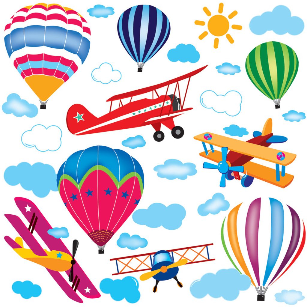 Airplanes & Hot Air Balloons Wall Decal